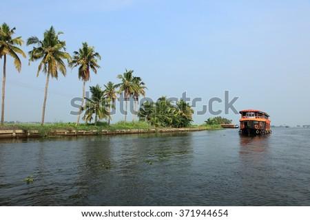 Beautiful backwater travel destinations of Kerala, India. - stock photo