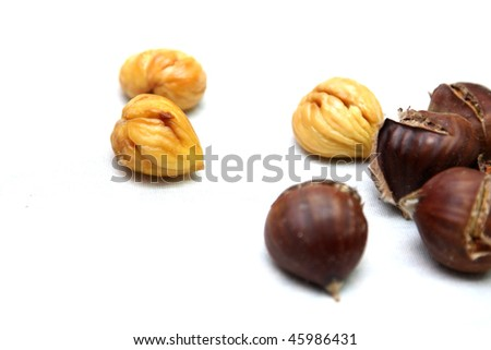 beautiful baked chestnuts, food photo - stock photo
