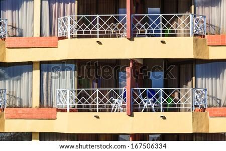 beautiful balconies in a modern hotel - stock photo