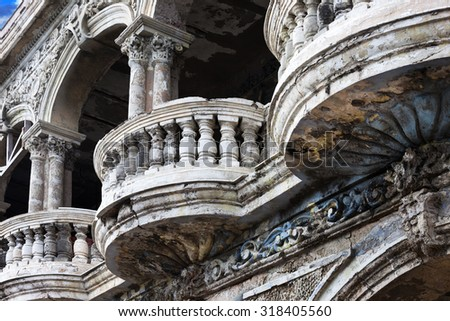 beautiful balconies of the old building close up