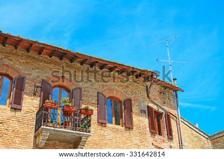 beautiful balcony in San Gimignano, Italy - stock photo