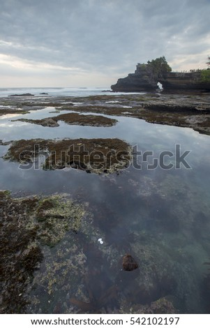 Beautiful balinese landscape. Tanah lot on the rock against sunset sky. Bali Island, Indonesia. Low light and soft focus.