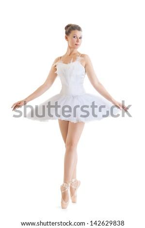 beautiful ballerina in classical tutu on a white background - stock photo