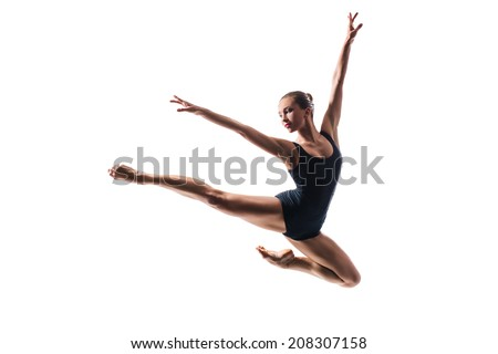 beautiful ballet dancer posing on white isolated background - stock photo