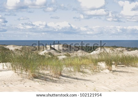 Beautiful Baltic Sea sand beach. Lithuania - stock photo