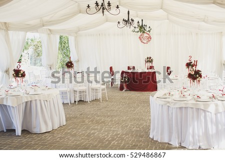 Beautiful Banquet hall under a tent for a wedding reception. & Wedding Tents Stock Images Royalty-Free Images u0026 Vectors ...