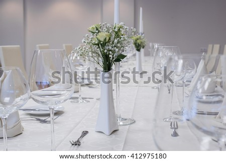 beautiful banquet hall with arranged tables