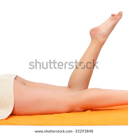 Beautiful bared female feet with a well-groomed skin, isolated on a white background, please see some of my other parts of a body images