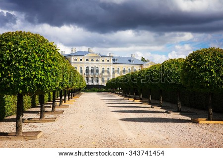 beautiful baroque palace Rundale with blue sky - stock photo