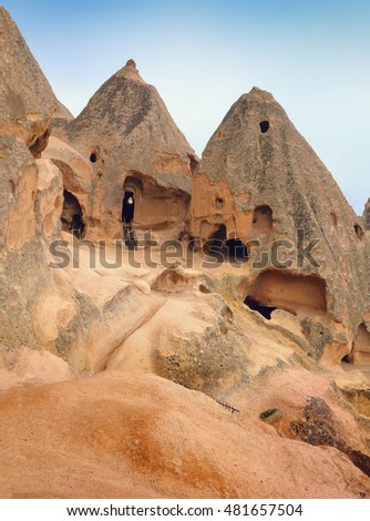Beautiful barren landscape - ashen mountain (volcanic rock) in ancient orthodox monastery Selime (unesco world heritage site), Aksaray Province, Cappadocia, Central Anatolia, Turkey