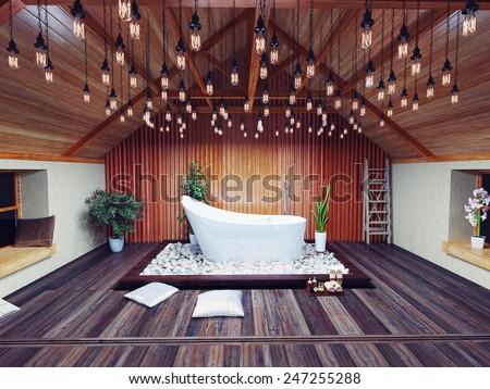 beautiful bath in the attic in the night. 3d design concept - stock photo