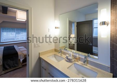 Beautiful bathroom in a luxury home. Interior design. - stock photo
