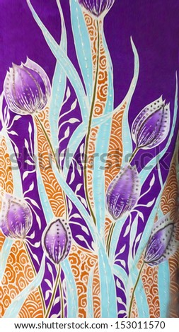 Beautiful batik sutera patterns in digital oil painting. - stock photo
