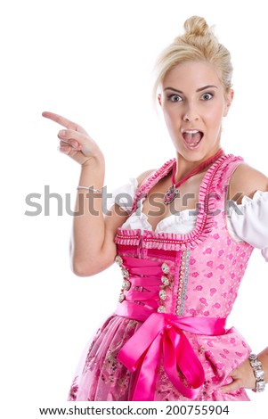 Beautiful bavarian woman isolated making promotion for Oktoberfest in munich. - stock photo