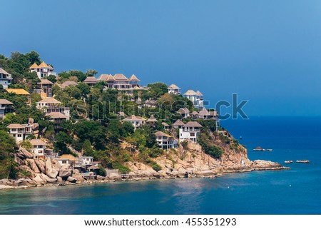 Beautiful Bay in Tropical Turquoise Ocean Island with Resort on the Mountain Scenery View Point in Koh Tao Thailand.