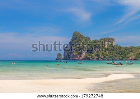 Beautiful bay of Phi Phi island at low tide, Thailand