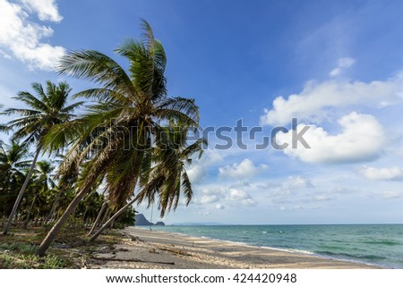 Beautiful beach and blue sky background in the south of Thailand.