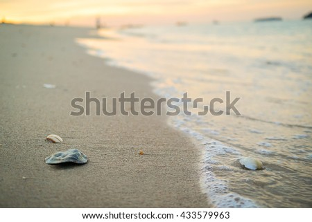 Beautiful beach and sand with sunrise background. Selective focus