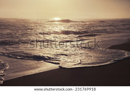 beautiful beach and tropical sea, Ocean water with waves. Sea shore with sand. Sunshine background - stock photo