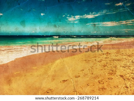 beautiful beach and tropical sea, Pacific Ocean water with waves. Sea shore with sand on Maui Hawaii. Sunshine background - stock photo