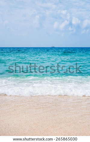Beautiful beach and tropical sea. Summer landscape. Travel background - stock photo