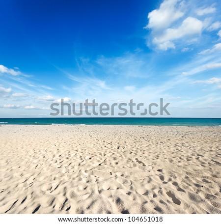 Beautiful beach and  waves of Caribbean Sea. Riviera Maya, Mexico - stock photo