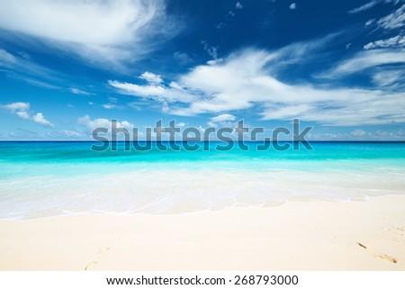 Beautiful beach Anse Intendance at Seychelles, Mahe - stock photo