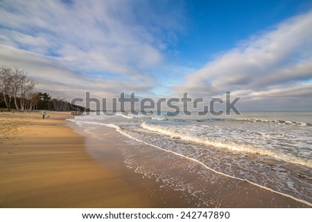 Beautiful beach at Baltic Sea in winter time, Poland