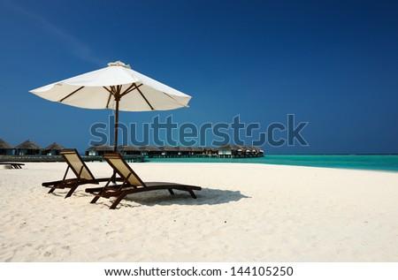 Beautiful beach at Maldives, South Male Atoll - stock photo