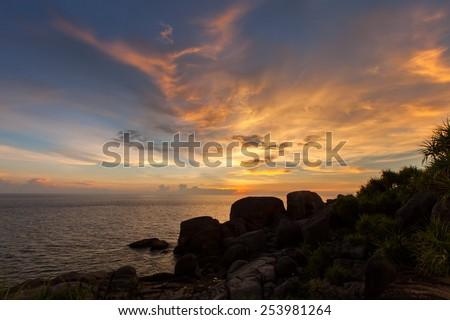 Beautiful beach at sunset date. - stock photo