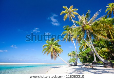 Beautiful beach at Tikehau atoll in French Polynesia - stock photo