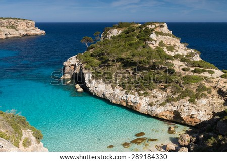 Beautiful beach Cala des Moro, Mallorca, Baleaes, Spain - stock photo