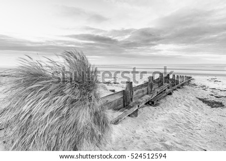 Beautiful beach coastal landscape image at sunrise in black and white