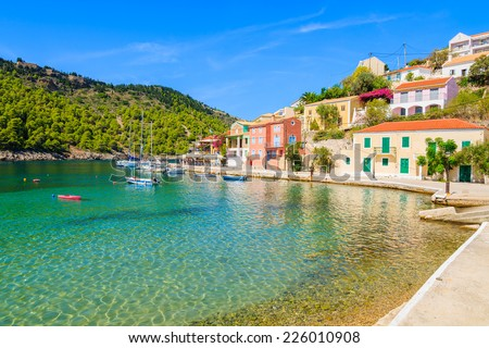 Beautiful beach in Assos fishing village on coast of Kefalonia island, Greece - stock photo