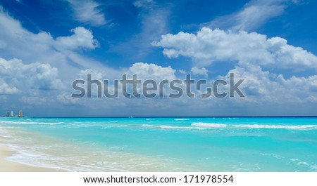 Beautiful beach in Cancun - stock photo