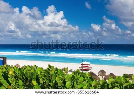 Beautiful beach in Cancun, Mexico - Playa Delfines - stock photo