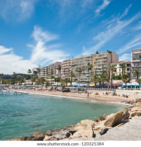 Beautiful beach in Cannes, France - stock photo