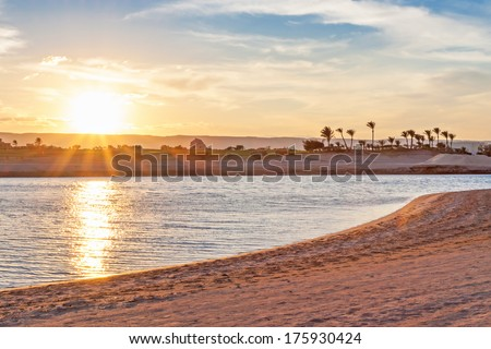 Beautiful beach in Egypt in soft evening light