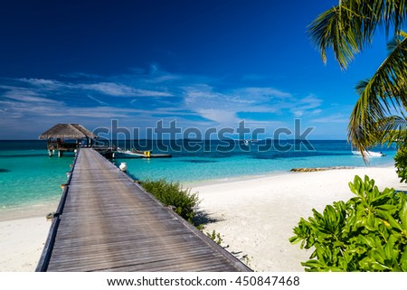 Beautiful beach in Maldives with few palm trees and blue lagoon. Travel summer background concept. - stock photo