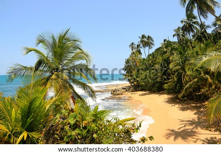 Beautiful beach in Manzanillo, Costa Rica (Caribbean Sea) - stock photo