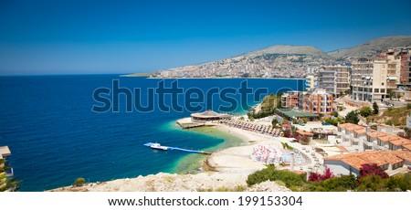 Beautiful beach in Saranda, Albania. - stock photo
