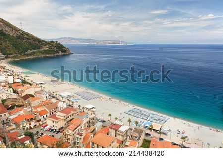 Beautiful beach in Scilla, southern Italy, Calabria region - stock photo
