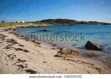 Beautiful beach in Scotland on the Isle of Mull uk with clear blue sea.  Campervans and motorhomes parked on the sea shore at Fidden near Iona illustration like oil painting.
