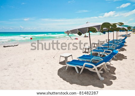 Beautiful beach in sunny day, white sand and blue sky, Phuket, Thailand