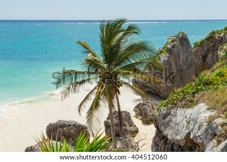 Beautiful beach in the archaeological museum, Tulum, Mexico, Caribbean Sea, Riviera Maya - stock photo
