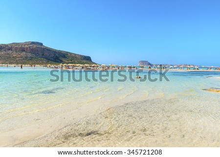 Beautiful beach in the Bay of Balos.One of the best places in the world for a beach holiday.Seascape.Mediterranean sea.Picturesque natural background.District of Chania.Crete island.Greece.Europe. - stock photo
