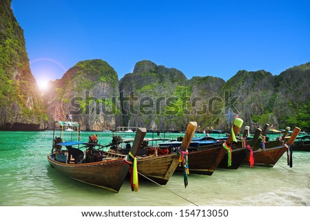 Beautiful beach landscape in Maya bay island, Phi Phi Island, Thailand - stock photo