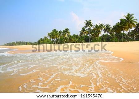 beautiful beach landscape - ocean in India - stock photo