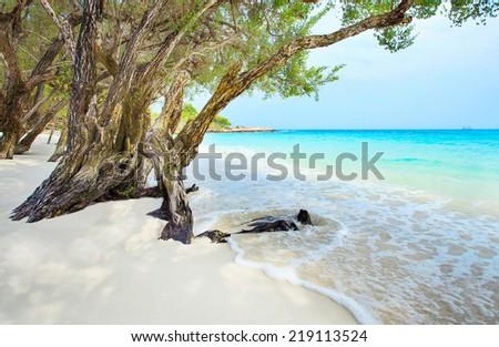 beautiful beach of Ao Wai Koh Samen sea national park in Rayong Province Eastern of Thailand - stock photo