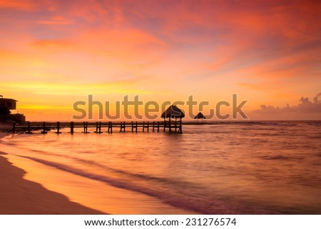 Beautiful beach of Mayan Riviera during tranquility of dawn - stock photo